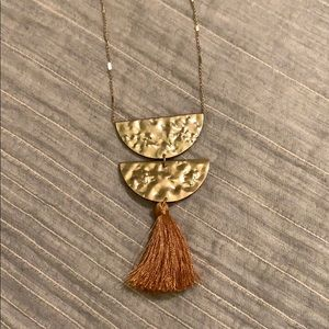 Geometric Hammered Gold Pendant Necklace